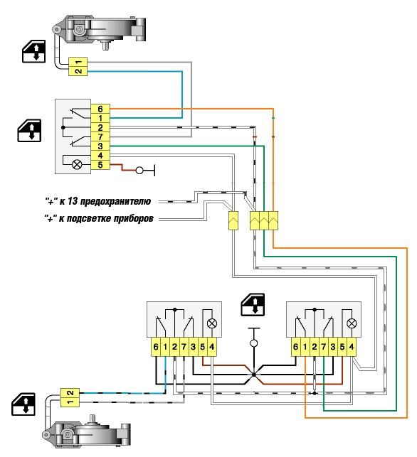 Фото схема подключения стеклоподъемников
